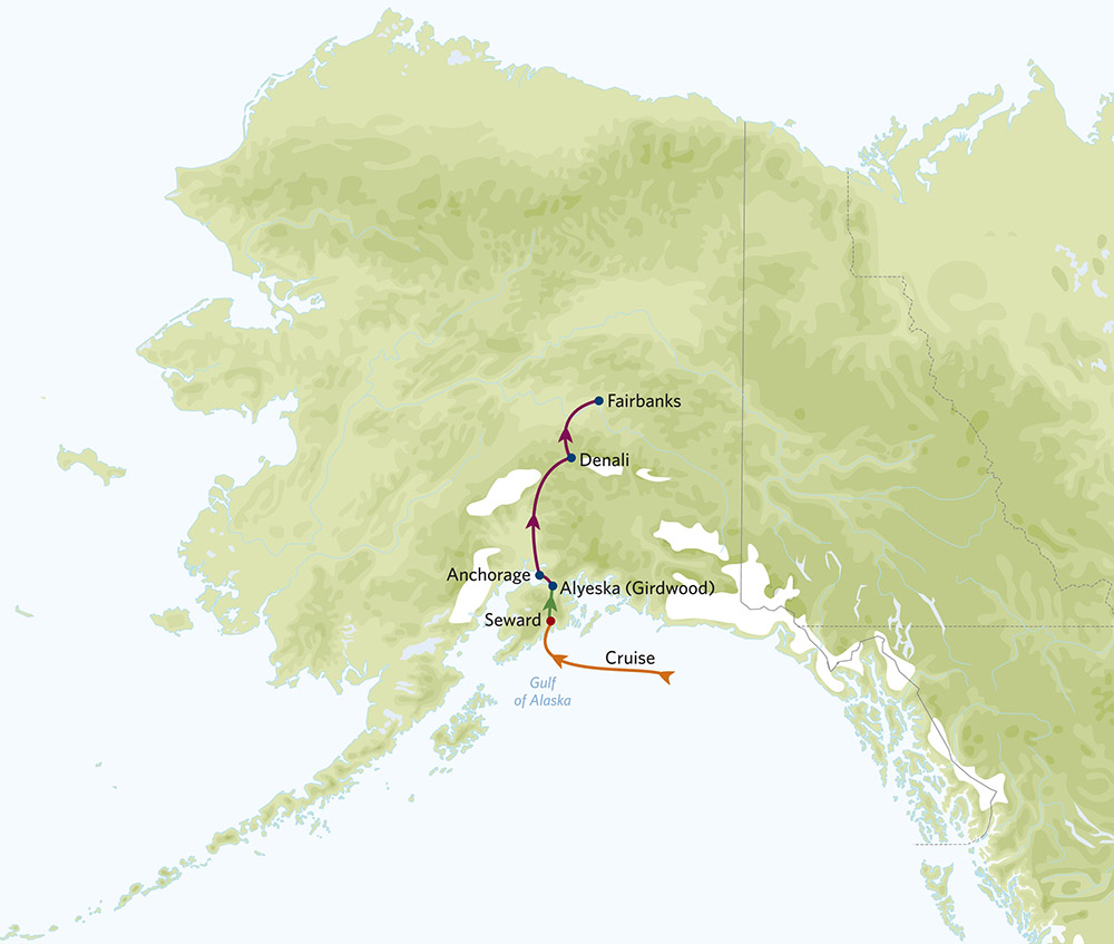 Map of Alaska Tour/Cruise